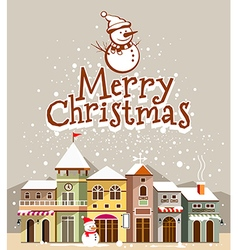 Merry Christmas lettering card vector image vector image