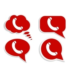 Phone on red word bubble speech vector