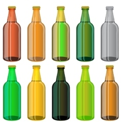 Set of colorful beer glass bottles vector