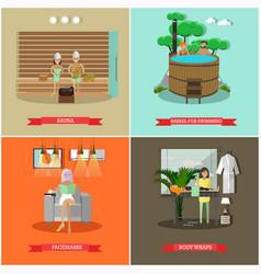 Set of spa procedures concept posters in vector
