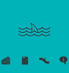 shark fin icon flat vector image