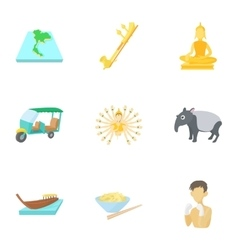 Thailand icons set cartoon style vector image vector image