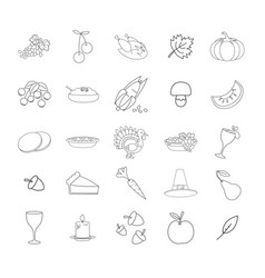 Thanksgiving symbols line icons collection vector