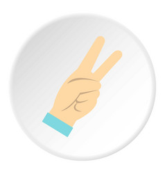 Two fingers raised up gesture icon circle vector