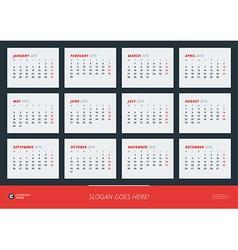 Wall calendar poster for 2016 year design print vector