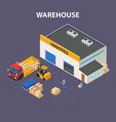 warehouse outside isometric design concept vector image vector image