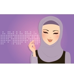 Beautiful girl wearing scarf hijab veil smile vector
