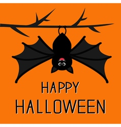 Happy halloween card cute bat hanging on tree big vector