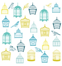 Birds and birdcages background vector