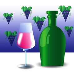 Green bottle and wineglass vector