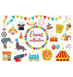 circus collection flat cartoon style set vector image