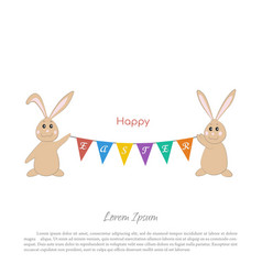 easter bunnies with a garland of flags vector image