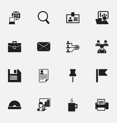 set of 16 editable company icons includes symbols vector image