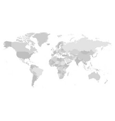 World map in four shades of grey on white vector