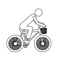 Monochrome contour pictogram of man in sport bike vector