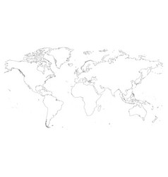 High detailed outline of world map simple thin vector