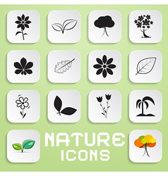 Nature paper icons set with flowers leaves and vector