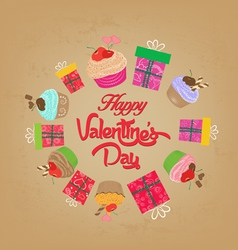 Vintage valentines day cupcakes and gifts vector