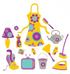Housewife accessories icons vector