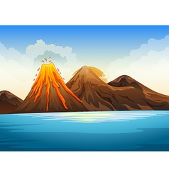 Volcano eruption by the lake vector