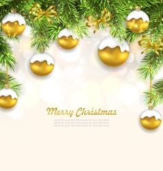 Natural christmas background with fir twigs vector