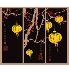 Branch of a tree and chinese lanterns vector