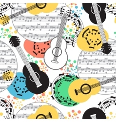Classical acoustic guitar seamless pattern vector