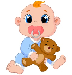 Baby Boy With Pacifiers and Toys vector image