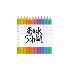 Back to school banner with pensils and lettering vector
