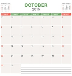 Calendar Planner 2016 Flat Design Template October vector image