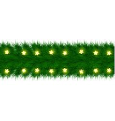 Christmas garland of fir branches card design vector