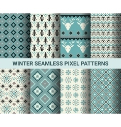 Collection of pixel retro seamless patterns with vector image vector image
