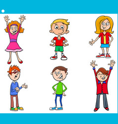 elementary age children characters cartoon set vector image vector image