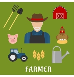 Farmer and agriculture flat icons vector image vector image