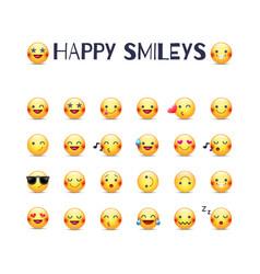 happy smileys icon set joy emoticons vector image