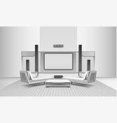 home cinema interior in white tones vector image