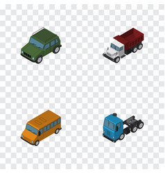 Isometric automobile set of truck autobus vector