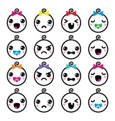 Kawaii baby boy and girl cute faces icons set vector