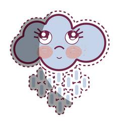 kawaii raining cloud thinking with cute eyes vector image vector image