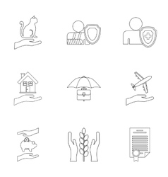 Keeping icons set outline style vector