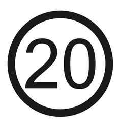 Maximum speed limit 20 sign line icon vector
