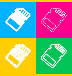 Memory card sign four styles of icon on four vector