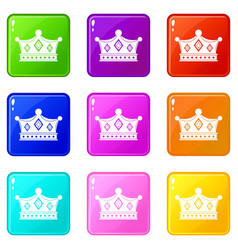 Prince crown icons 9 set vector