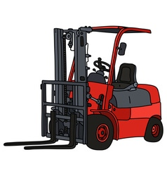 Red hydraulic forklifts vector