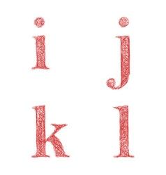 Red sketch font set - lowercase letters i j k l vector image vector image
