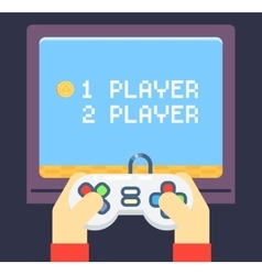 Retro Games Player Hands Joystick TV Monitor vector image