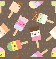 seamless pattern cute kawaii styled ice cream vector image