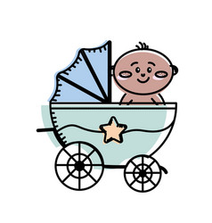Security stroller with baby child inside vector