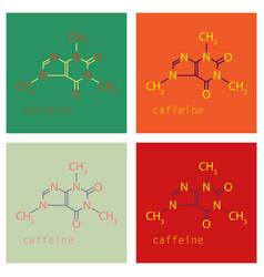 Set of caffeine molecule chemical structure vector