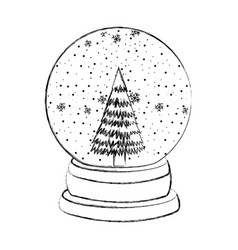 Sketch draw christmas glass snow ball vector